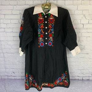 Plenty By Tracy Reese Embroidered Black Blouse Sm